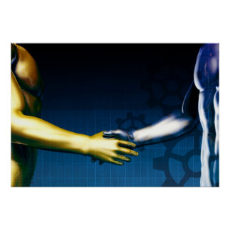 Business Integration Network with Hands Shaking Poster