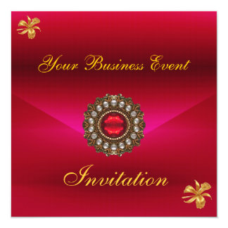 Business Invitation All Occasions Red with Jewel