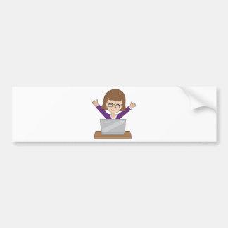 Business Lady Laptop Bumper Sticker