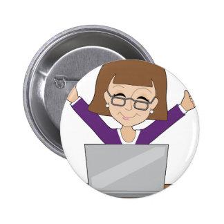 Business Lady Laptop Pinback Buttons