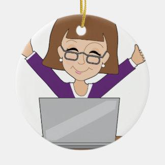 Business Lady Laptop Ceramic Ornament