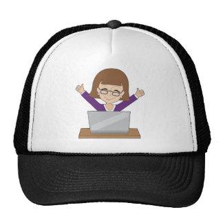 Business Lady Laptop Trucker Hat