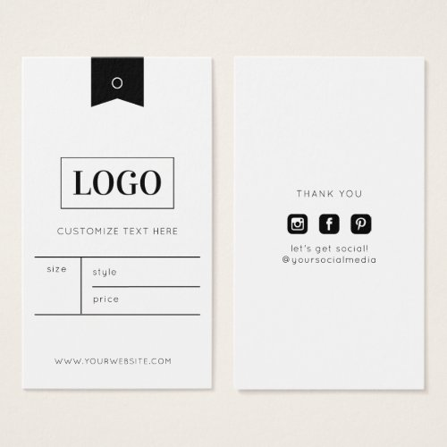 Business Logo Clothing Label Price Hang Tag