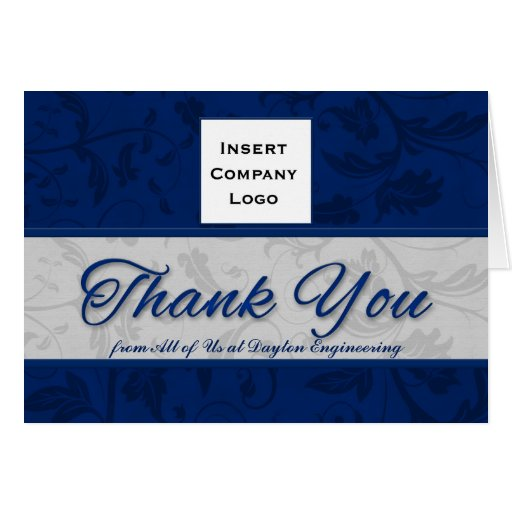 Business logo custom thank you blue damask card zazzle for Thank you business card