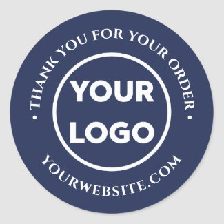 Business Logo Customer Thank You on Navy Blue Classic Round Sticker