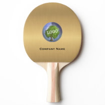 Business Logo Gold Ping Pong Paddle