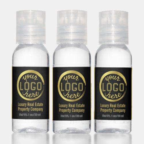 Business Logo Promotional Branding Black Gold Hand Sanitizer