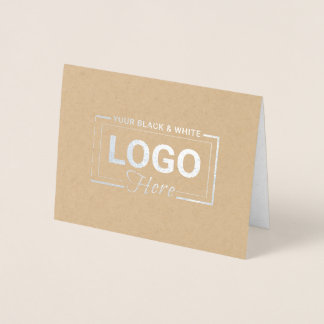 Business Logo Silver Foil Thank You Note Cards