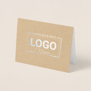 Thank you with logo note cards zazzle business logo silver foil thank you note cards reheart Gallery