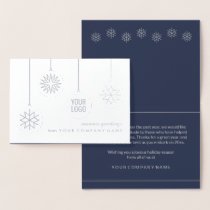 Business Logo Snowflake Ornaments Chic Silver Real Foil Card