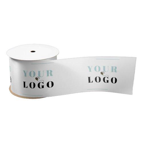 Business Logo Template Custom White Wide Satin Ribbon