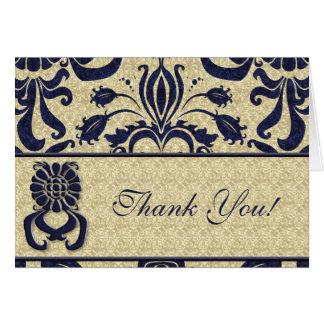 Business Logo Thank You Indigo Swirls Navy Taupe Stationery Note Card