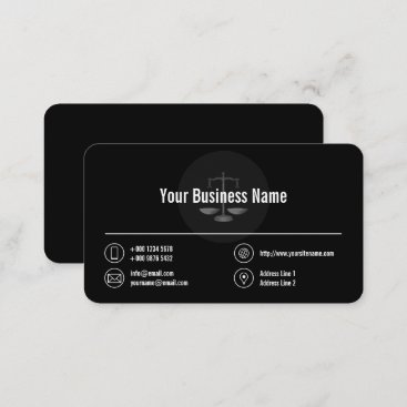 Business Logo White Icons Classy Black Business Card