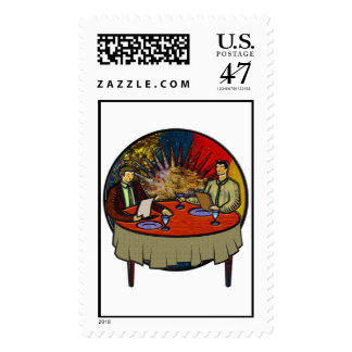 Business Lunch Postage Stamp