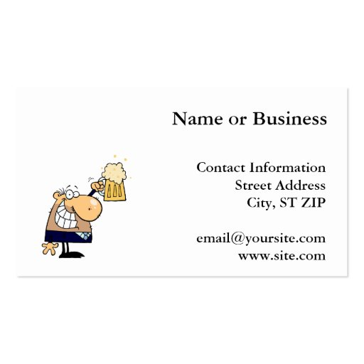 Business Man Drinking Beer Business Card Template