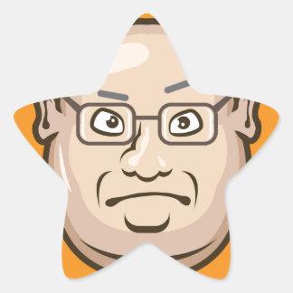 Business Man face Star Sticker