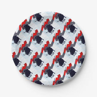 Business Man on Bull Profit Concept Paper Plate