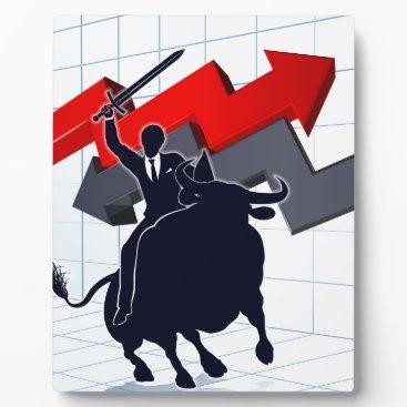 Business Man on Bull Profit Concept Plaque