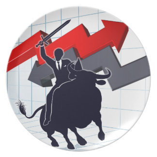 Business Man on Bull Profit Concept Plate