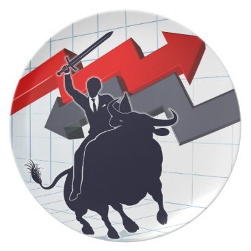 Professional Business Business Man on Bull Profit Concept Plate