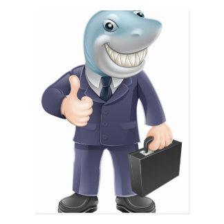 Business man shark postcard