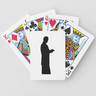 Business Man Standing Bicycle Playing Cards