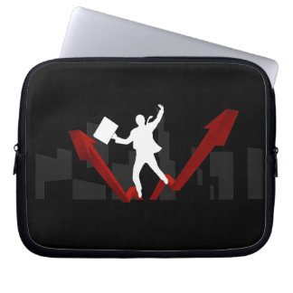 Business Man with Rising Statistics Laptop Sleeve