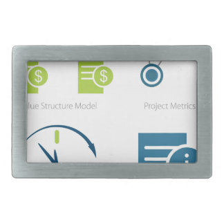 Business metrics icon set belt buckle