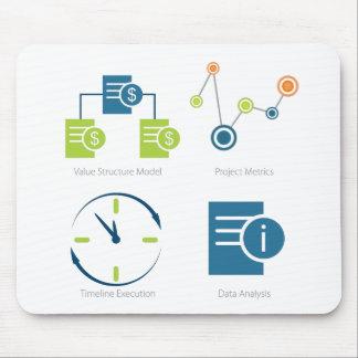 Business metrics icon set mouse pad