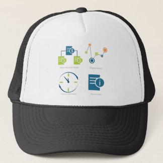 Business metrics icon set trucker hat