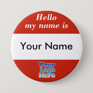 Business Name Tag Button Corporate Logo