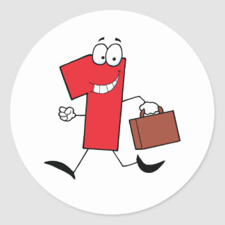Business Number One Running With Suitcases Classic Round Sticker
