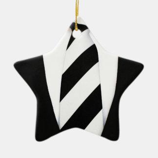 Business Office Men Tie Suit Pattern Stripes Ceramic Ornament