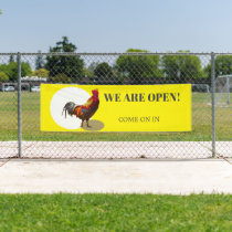 Business Open Fun Chicken Rooster Banner