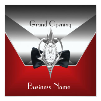 """Business Opening red Silver Diamond Jewel 5.25"""" Square Invitation Card"""