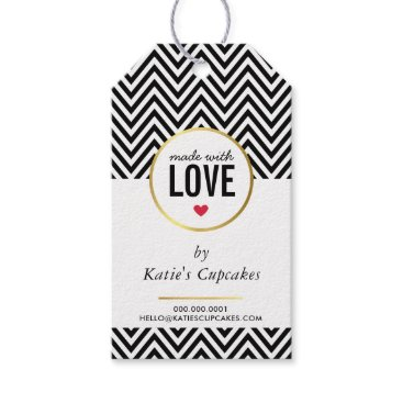 Professional Business BUSINESS PACKAGING made with love black chevron Gift Tags