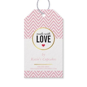 Professional Business BUSINESS PACKAGING made with love pink chevron Gift Tags