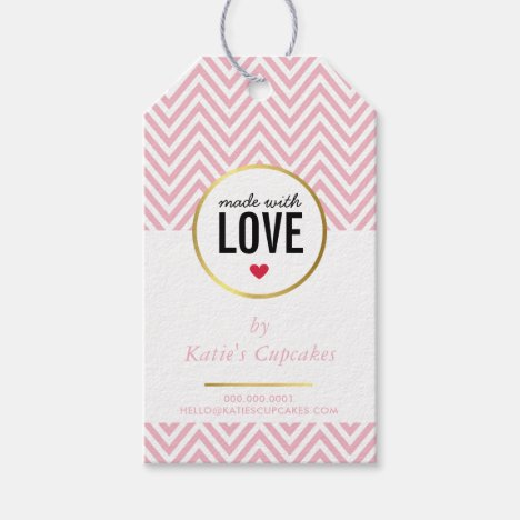 BUSINESS PACKAGING made with love pink chevron Gift Tags