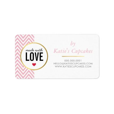 Professional Business BUSINESS PACKAGING made with love pink chevron Label