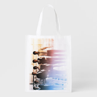 Business People Background as a Group Smiling Reusable Grocery Bags