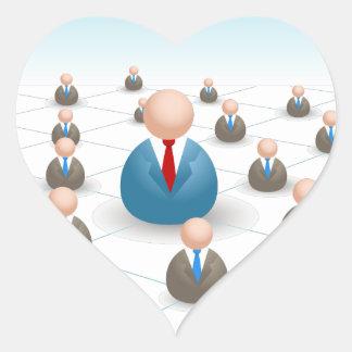 Business People Communication Network Heart Sticker