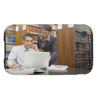 Business people doing research in library iPhone 3 tough case
