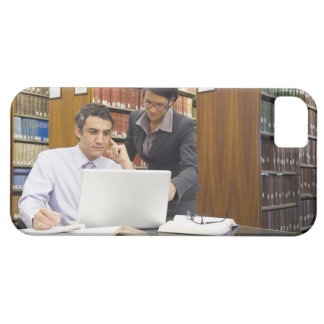 Business people doing research in library iPhone 5 cases