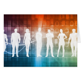 Business People Standing in a Row Confident Card
