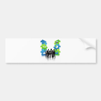 Business-People-Team-with-3D-Puzzle-Pieces BUSINES Bumper Sticker