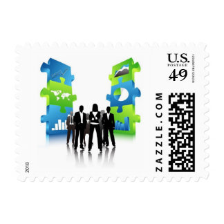 Business-People-Team-with-3D-Puzzle-Pieces BUSINES Postage