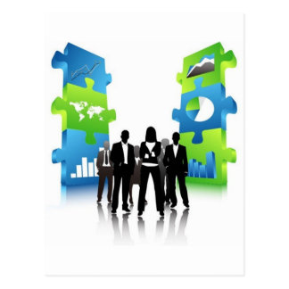 Business-People-Team-with-3D-Puzzle-Pieces BUSINES Postcard