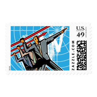 Business people throwing arrow sign postage stamp