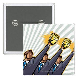 Business people wearing baseball glove button