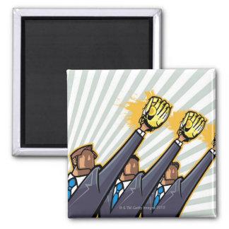 Business people wearing baseball glove magnet